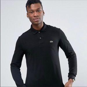 Lacoste Long Sleeved Black Polo Shirt